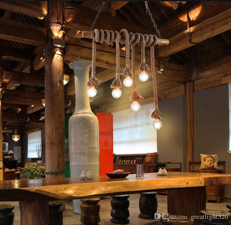 DIY Cânhamo Industrial Vintage corda lustre Pendant Light bambu teto Laight personalidade criativa Edison Retro Chandelier decorativa # 05