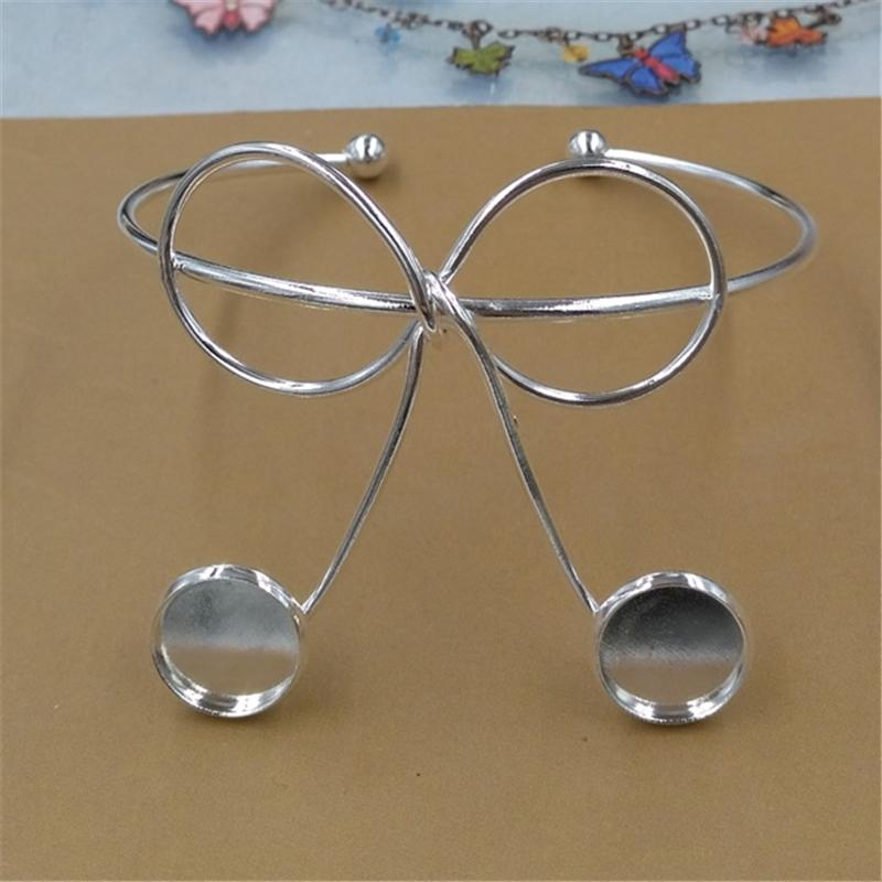 BoYuTe New Product 12mm Cabochon Base DIY Metal Bangle Bracelet Line Twist Bowknot Silver Gold Bangles