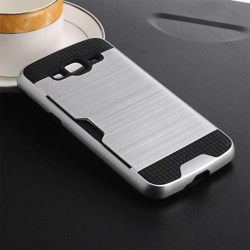 Armor TPU + PC Hybrid Geborsteld Creditcard Slot Case voor Samsung Galaxy Z3 Note 3 Grang Prime G530 Opmerking 8 100 stks / lo