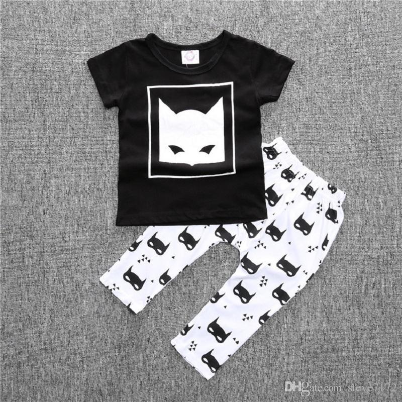 Summer Baby Boy Clothing Set Batman Children T-Shirt Pant Cotton Baby Girls Clothes Suit Newborn Outfits Black White Fashion Tops Trouser