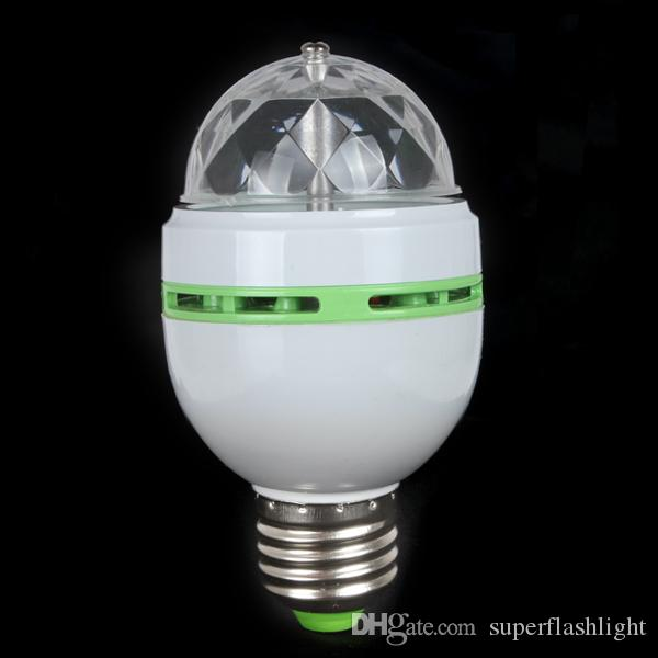 E27 RGB Effect 3X LED Rotating Stage Crystal Ball LED Light Lamp for Disco / DJ / Party LIF_212