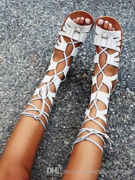 2017 femmes hautes bottes de gladiateur talons plats Style découpe mi-mollet mujer Botas Chaussures Femmes lacets bottillon