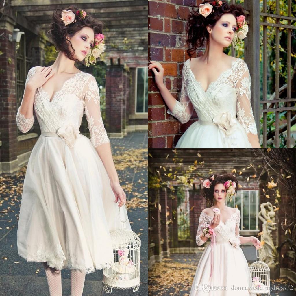 Vintage Three Quarter Length Wedding Dresses: Discount Beach Three Quarter Sleeves Short Wedding Dresses