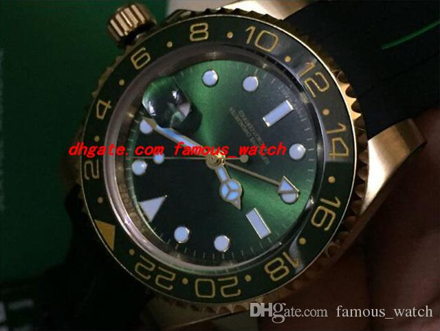 Top-Qualität Luxus 40mm 18K Gelb Gold Gummi Armband II Keramik grün Zifferblatt # 116718 Garantie mechanische Männer Uhren neue Ankunft