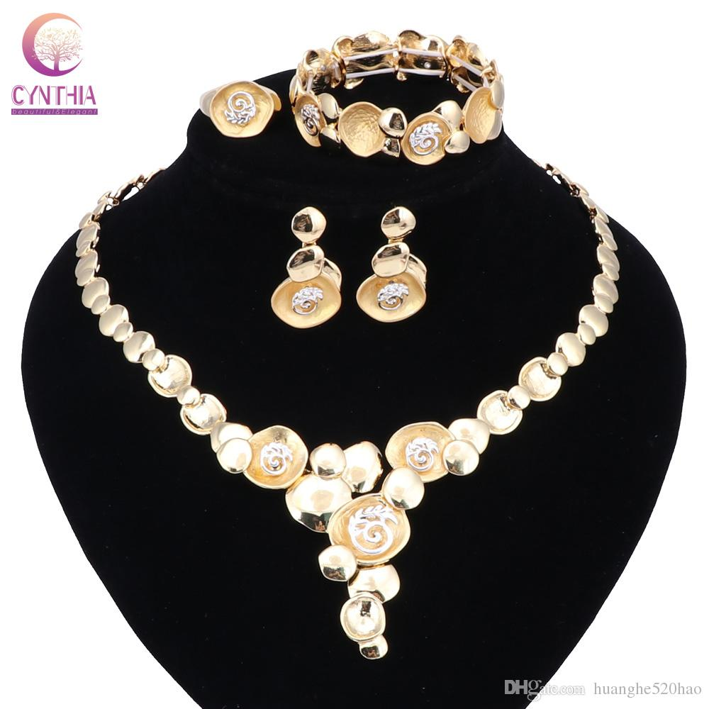 Fashion African Beads Jewelry Set Exquisite Carved Dubai Pure Gold Color Necklace Jewelry Set Nigerian Wedding Bridal Bijoux
