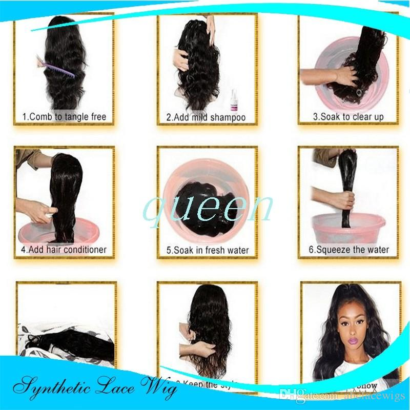 Kahverengi sentetik dantel ön peruk Sentetik Saç Tutkalsız Dantel Ön Peruk Işık Yaki Düz Saç Peruk Afro-amerikan Için Bebek Saç ile