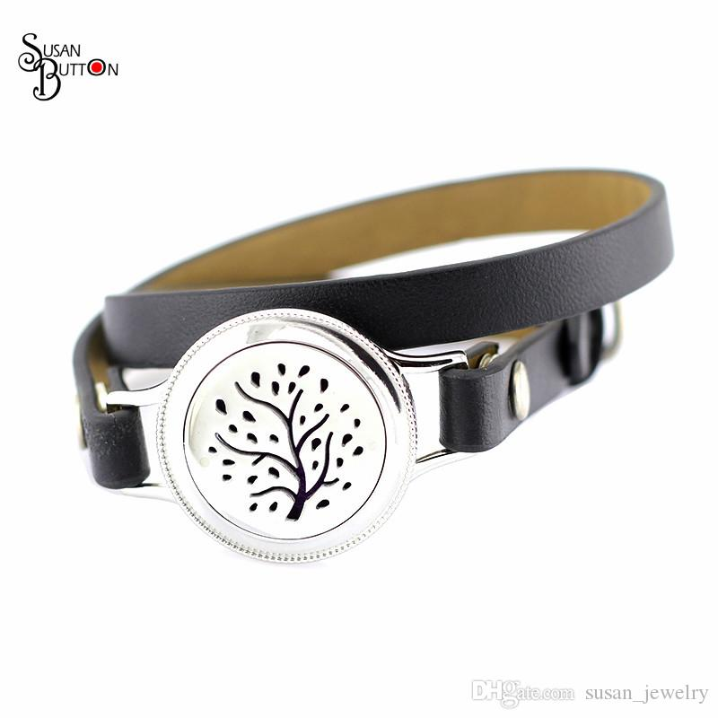 Fashion 6cs25MM Stainless Steel Aromatherapy Leather Bracelet Flower Retro Fake Nails twist Diffuser Perfume Locket Bracelet Jewelry
