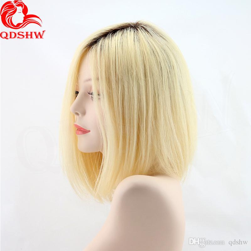 Full Lace Dark Root Blonde Human Hair Wigs Short Ombre Glueless Virgin Chinese Human Hair Ombre Blonde Lace Front Wig For White Women