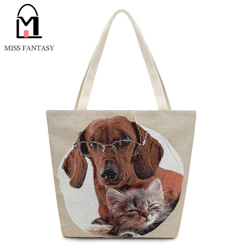 874f722cf985d1 Wholesale Women'S Canvas Tote Bag Female Casual Beach Bag Dog Printed  Popular Handbag Large Capacity Shopping Bags Daily Use Shoulder Bags  Overnight Bags ...