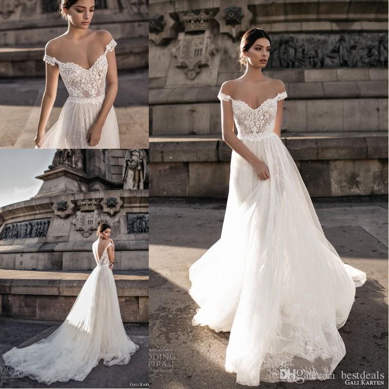 39e79805378 Gali Karten 2018 Sheer Bohemian Wedding Dresses Off the Shoulder Lace Tulle  Sweep Train Backless Bridal Gowns Gali Karten 2018 Bohemian Wedding Dress  A-Line ...