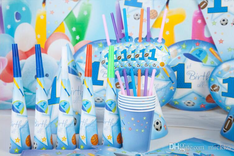 Blue Sports Boy Series Birthday Party Props Children Mask Blowout Flag Mask Cup Cap Supplies Birthday Party Decoration Set