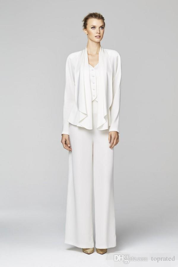 2019 New Style Mother Bride Pant Suits Sexy Long Sleeve Coat White Black Plus Size Evening Mother of the Bride Dress