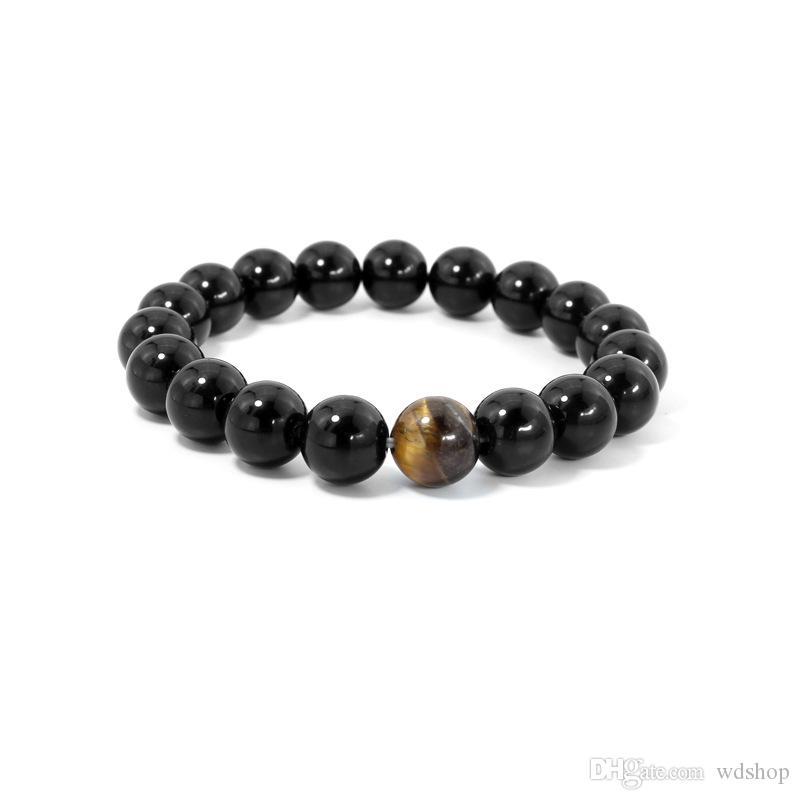 Ágata de ónix negro natural con ojo de tigre, cuentas de piedra, hombres, amantes de la energía, pulseras de hebra de yoga, pulsera de curación de chakra.