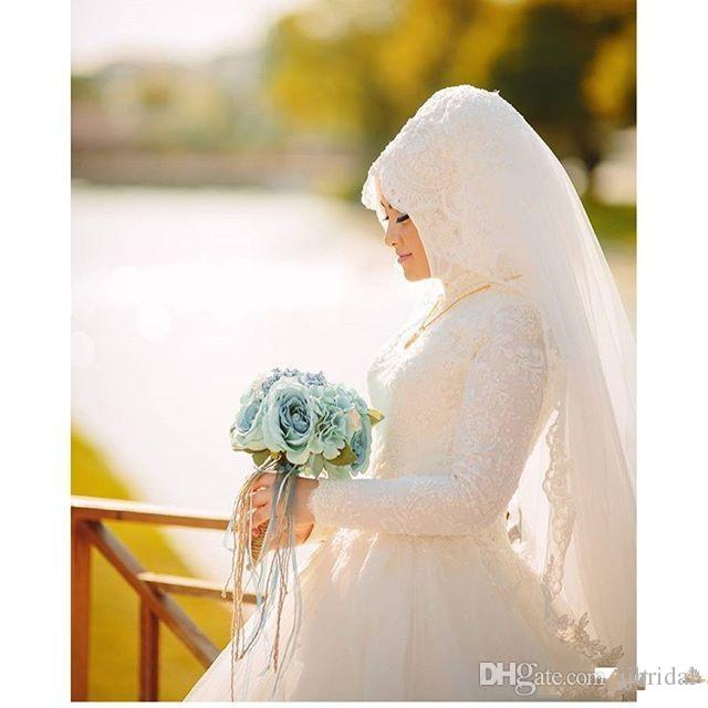 In 2017 New Vestido Robes De Mariage Arab Muslims Luxury Beautiful Long Sleeve Wedding Dress Bridal Gown