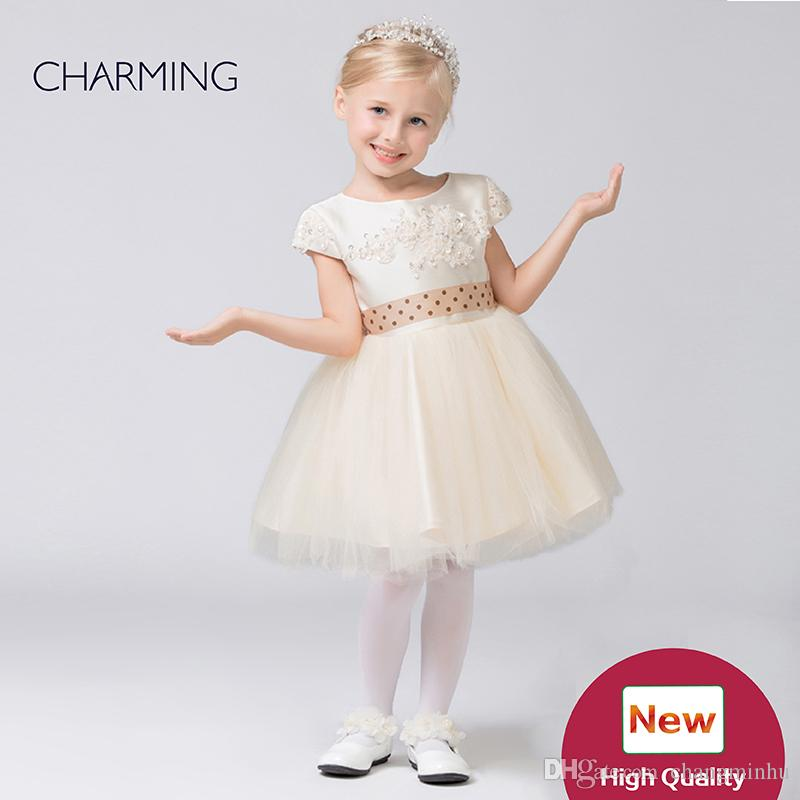 Kids outfits Designer kids dresses Flower girl dress ivory high quality Pageant dresses for girls China suppliers