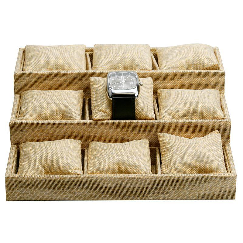 9 Grids/pcs Whole sale High-end Linen Azabu Jewelry Box Bracelet Watch Jewelry Display Stand Holder Small Pillow Tray