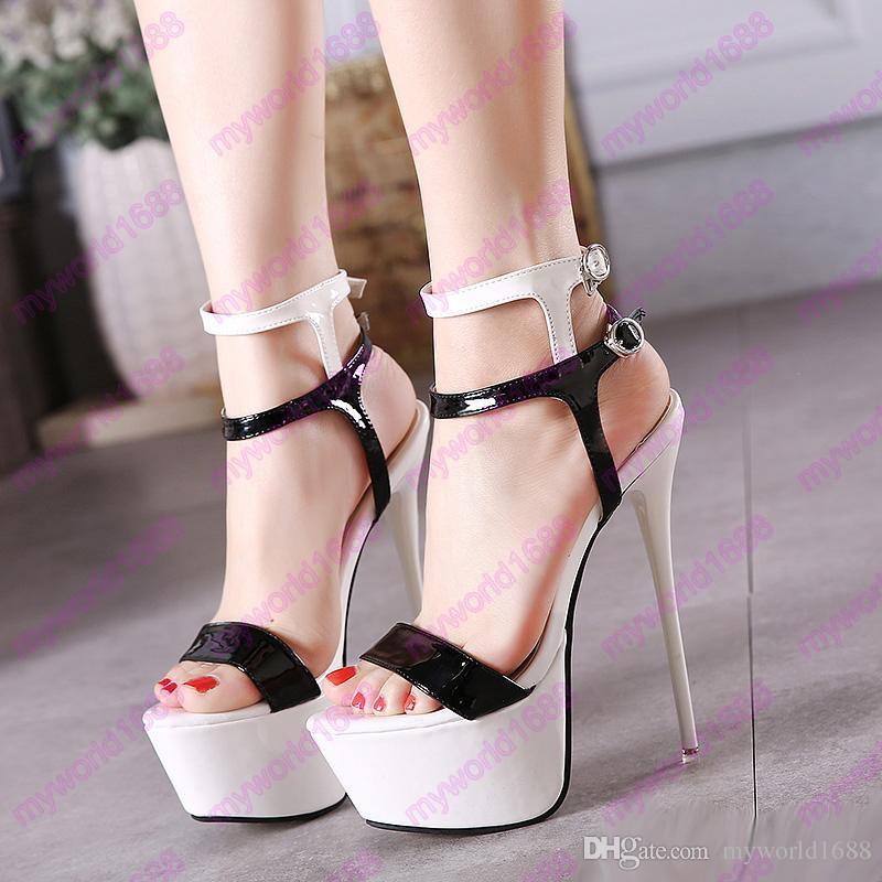 Шикарные лодыжки насосы на платформе ультра высокие каблуки 16см белый черный красный сексуальный женский клуб ну вечеринку обувь размер 34 до 40