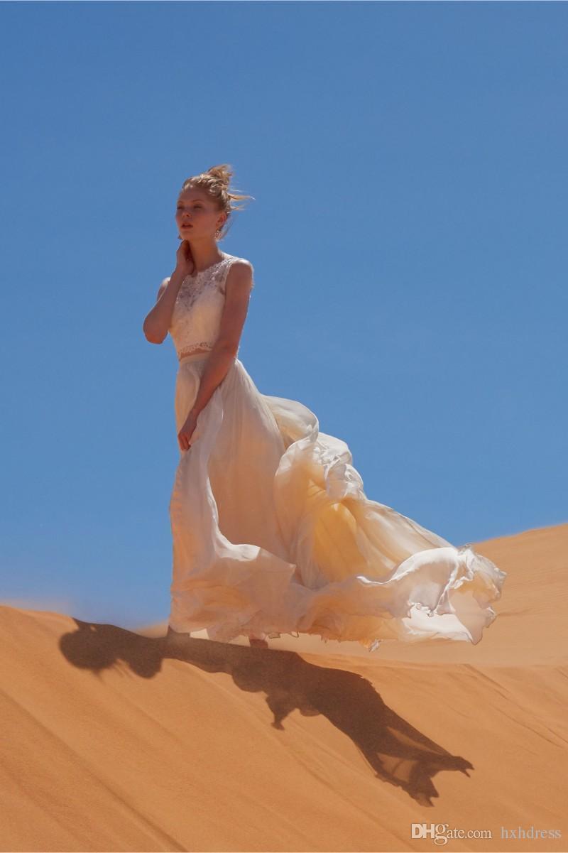 2019 Nouvelles Deux Pièces Robes De Mariée De Plage Jewel Decollete Dentelle Appliqued Robes De Mariée A-Line Pas Cher Longueur De Plancher En Mousseline De Soie Robe 276