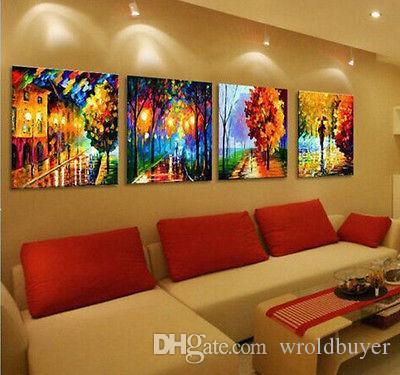 Wholesale cheap Abstract 100% hand-painted// Art Oil Painting Wall Decor canvas 4pc/set
