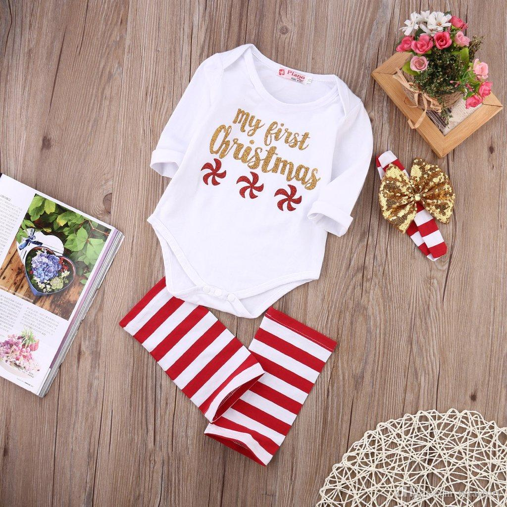3Pcs Kid Toddler Outfit White Romper+ Striped Leg Warmer+Headband Baby Clothes My First Christmas Red Little Windmills 0-24M Santa Gift