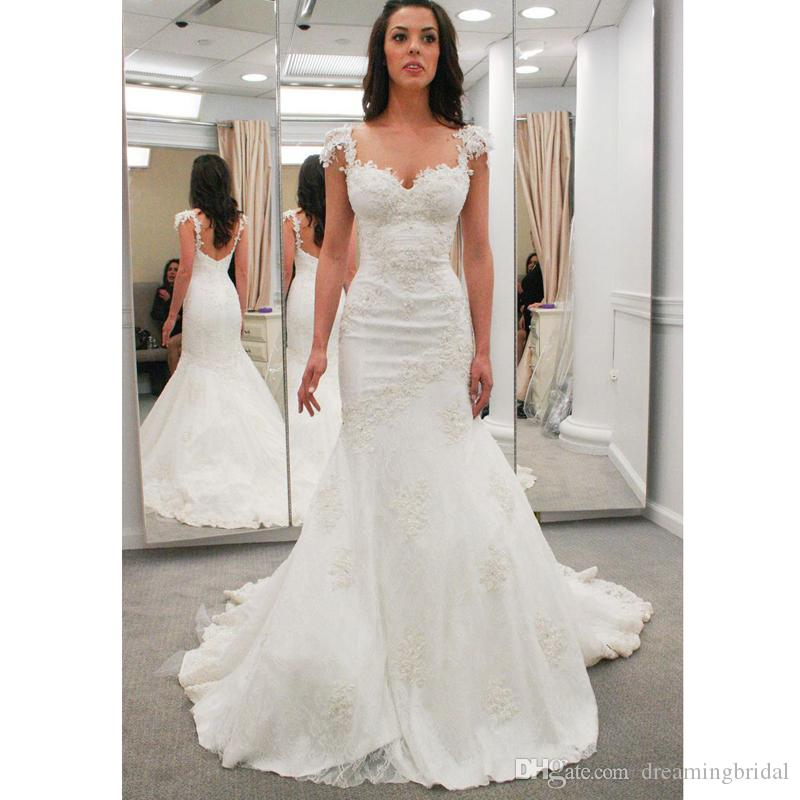 75e6081b4 Sexy Backless Mermaid Wedding Dresses 2017 New Sleeveless Sweetheart Floor  Length Lace Applique Wedding Gown Bridal Dresses Custom Made Mermaid  Wedding ...