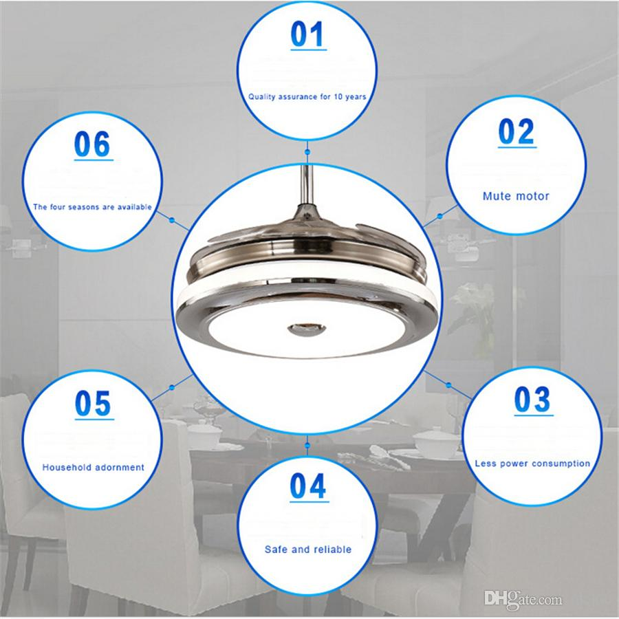 Invisible Retractable Blades Chrome Ceiling Fan 42 Inch Modern Simple Fan Chandelier With Lights for Living Room Bedroom Home Ceiling Light
