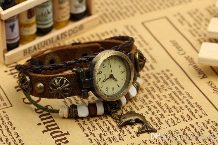 Europe and the United States trend, retro fashion, alloy . genuine leather. bracelet table, original design, limited edition *W01331W01326