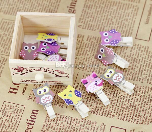 / pack mini hibou vêtements en bois papier photo pince à linge pince à linge artisanat carte postale clips maison décoration de mariage avec corde