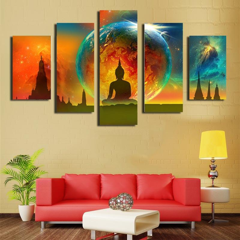 Five-picture Combination Canvas Paintings Wall Art Abstract Buddha ...