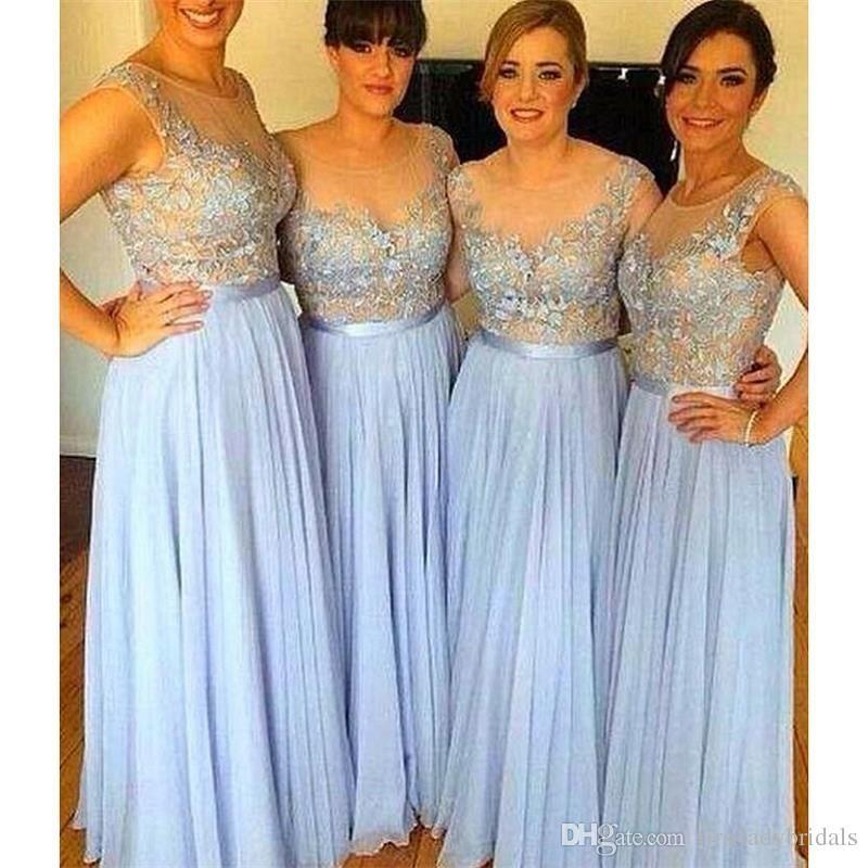 2017 Céu Azul Sheer Vestidos de Dama de Honra Chiffon Appliqued A-line Longos Noivas Maid Vestidos Para As Mulheres Damas De Honra Preço Barato Frete Grátis