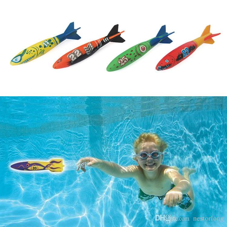 Fashion Style 4pcs Creative Colorful Diving Toy Gliding Shark Throwing Torpedo Underwater Toys For Children Online Discount Pools & Water Fun Beach/sand Toys