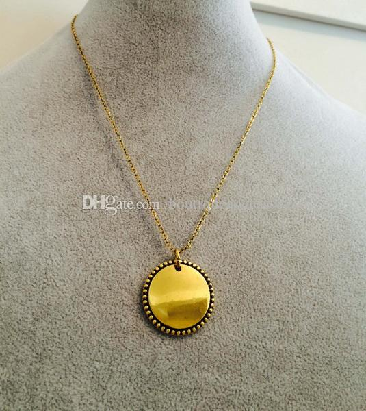 Hottest sale trendy monogram 25mm anti gold disk wholesale christmas hottest sale trendy monogram 25mm anti gold disk wholesale christmas gift jewelry for women personalized long chain pendant round necklace monogrammed disc aloadofball Image collections