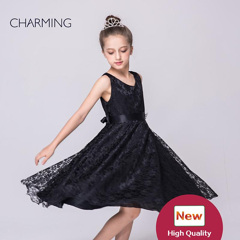 Black Dresses For Girls Dresses Party Designer Dresses V Neck Sleeveless  Style Belts Decoration Lace Fabric Best Chinese Wholesale Suppliers Canada  2019 ... 733d1e39e