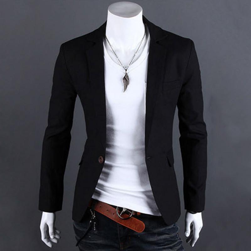 Compre Al Por Mayor 2017 Nuevos Hombres Un Botón Blazer Hombres Slim Fit  Traje De La Marca De Moda Casual Para Hombre Blazer Coat Jacket Plus Size M  3XL A ... ba95afbed43