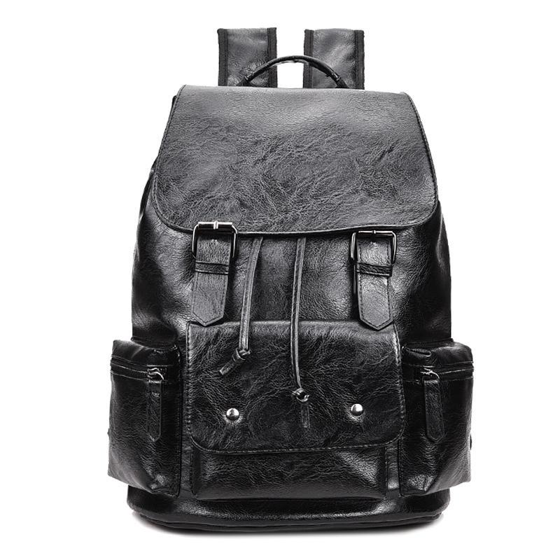 6b684159de Large Capacity Camouflage Leather Men Backpack Promotion Solid Black Mens  Laptop Backpack Leather Backpack Mochila Girls Backpacks Drawstring Backpack  From ...