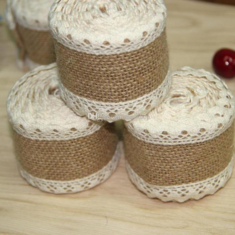 Burlap ribbon 2m vintage wedding centerpieces decoration sisal burlap ribbon 2m vintage wedding centerpieces decoration sisal lace trim jute hessian rustic event party cake supplies church wedding decoration diy wedding junglespirit Gallery