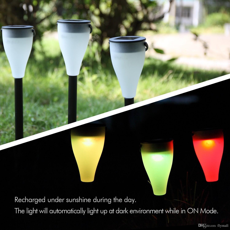 7 개의 색깔 3 개의 점화 형태를 가진 태양 빛을 바꾸는 7 개의 색깔 야드 경로 잔디밭 조경을위한 태양 강화 된 옥외 정원 말뚝 빛 거는 램프