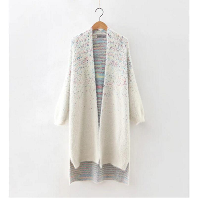 9486a1524c31 2019 Wholesale 2016 Gradient Colored Shaggy Cardigan Sweater New Women Hi  LO Hem Long Sweater Coat Jumper Tops Femme Knitwear From Berniee