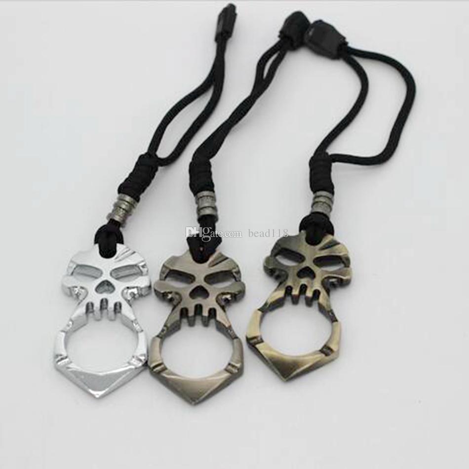 Caldo ! 6 pz New Fashion Uomo Donna Defensive Single finger Skull Keychain Catene in metallo i Catene chiave