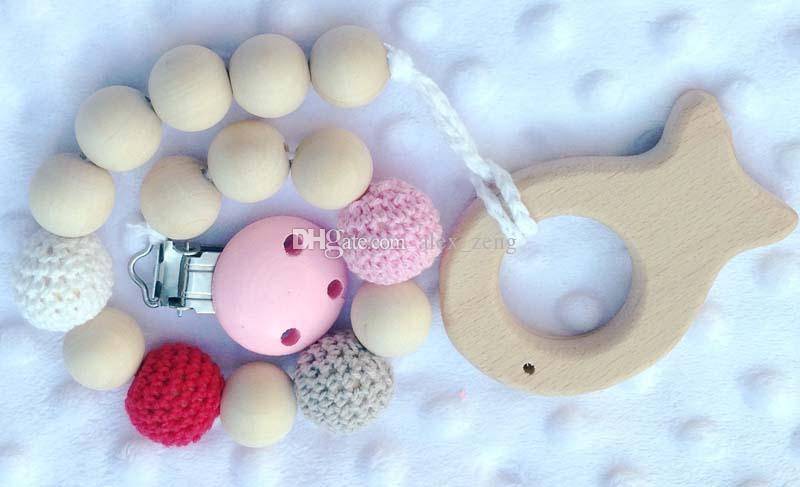 10 ألوان الكروشيه الخرز طفل الميلاد هدية هدية مصاصة كليب دمية حامل الكروشيه الخشبي الطبيعي حبات مغطاة مع خشبي الفيل اللعب A01