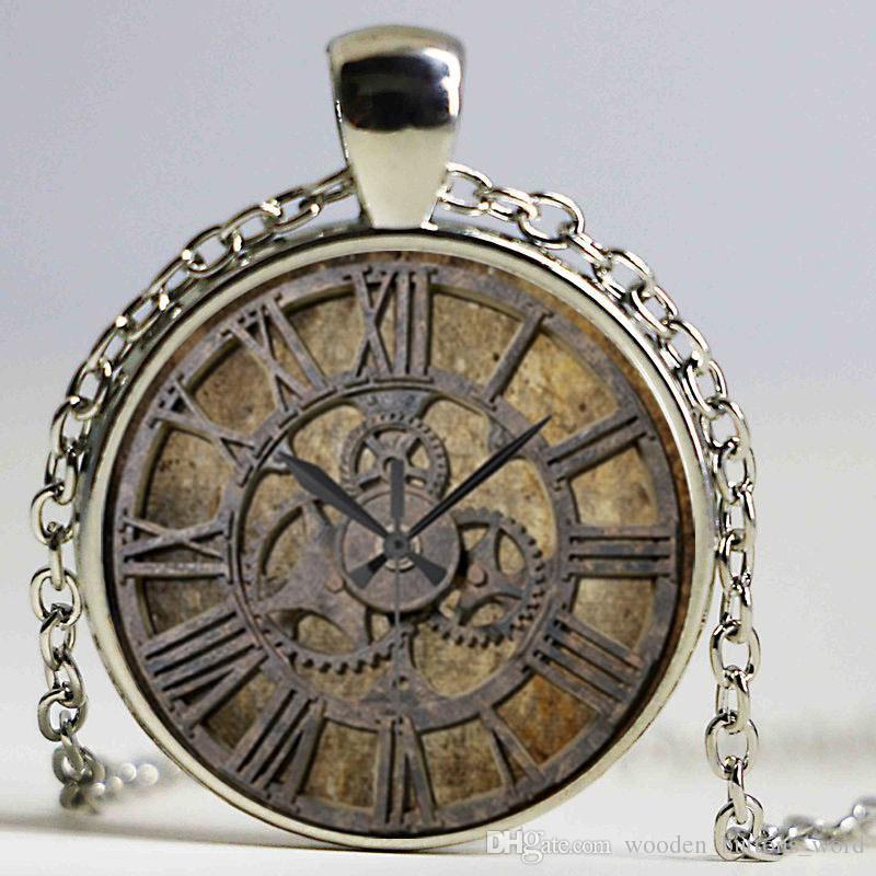 Steampunk Clock Art Picture Pendant Necklace New Glass Necklace Steampunk Clock Cool Necklaces For Men Cheap