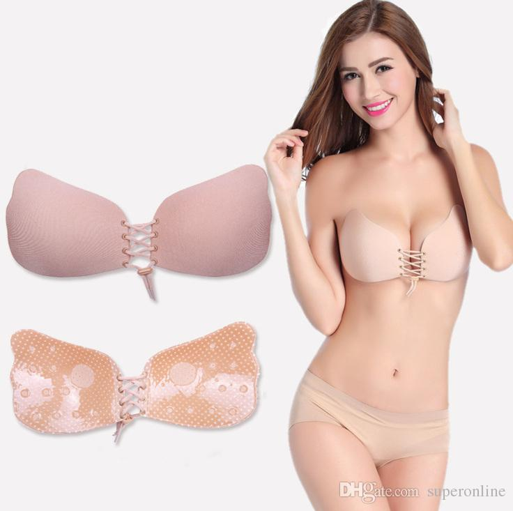 498bcc118 2019 Women Silicone Bra Cups For Backless Dress Butterfly Invisible Push Up  Stick On Self Adhesive Front Fly Bra Strapless A B C D From Superonline