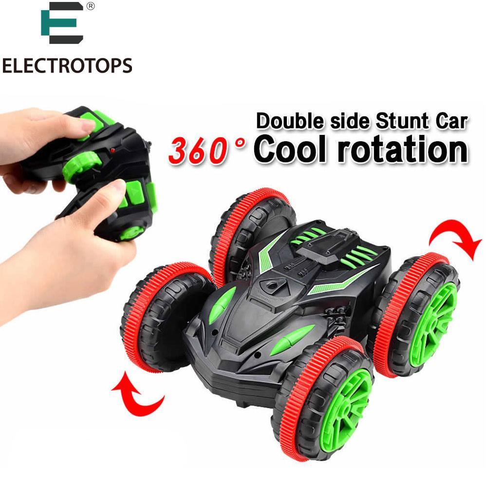 Wholesale- ET Rc Car Amphibious Vehicle Double-Sided Stunt Car 1/18 Scale  360 degree Rotate Model 2 4Ghz 4WD Remote Control Car 333-SL01B