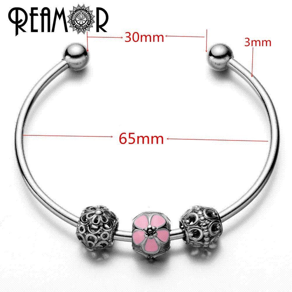 Reamor 316l Stainless Steel Simple Pink Enamel Flower Beads Women Charm  Adjustable Cuff Open Metal Bracelet & Bangle For Lover Charm Bracelet  Beads