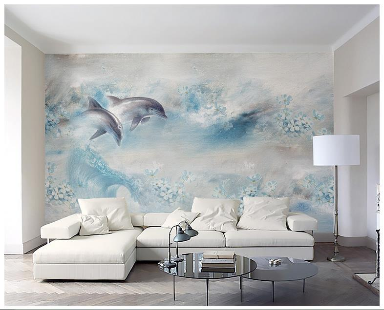High Quality Custom 3d photo wallpaper murals wall paper New abstract light blue oil painting dolphin with flowers TV background wall decor