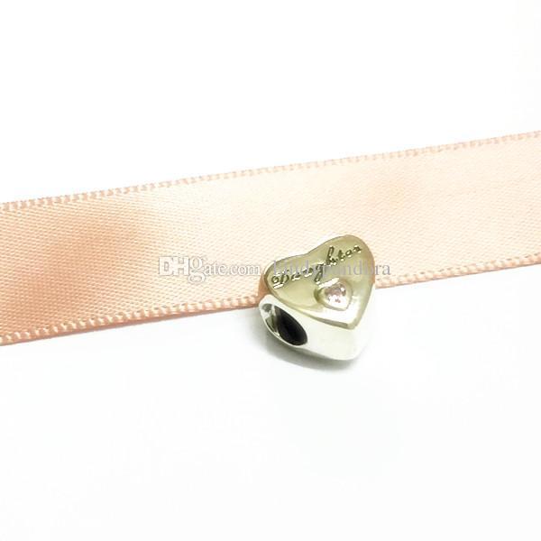 Filha do Amor Charme S925 Sterling Silver Bead com Rosa Cz Se Encaixa Pandora Europeu Jóias Pulseiras Colares Pingente