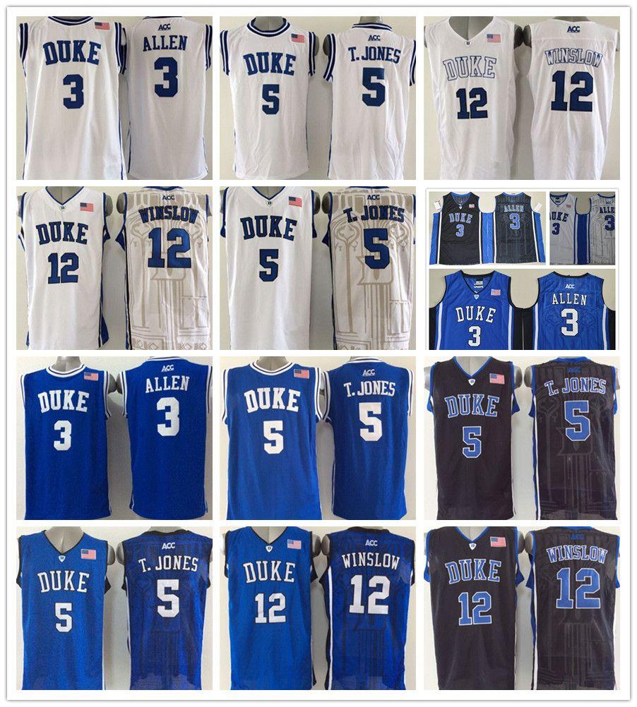 e8da46b4285 ... 2017 Duke Blue Devils 3 Grayson Allen Jersey 5 Tyus Jones Black White  12 Justise Winslow ...