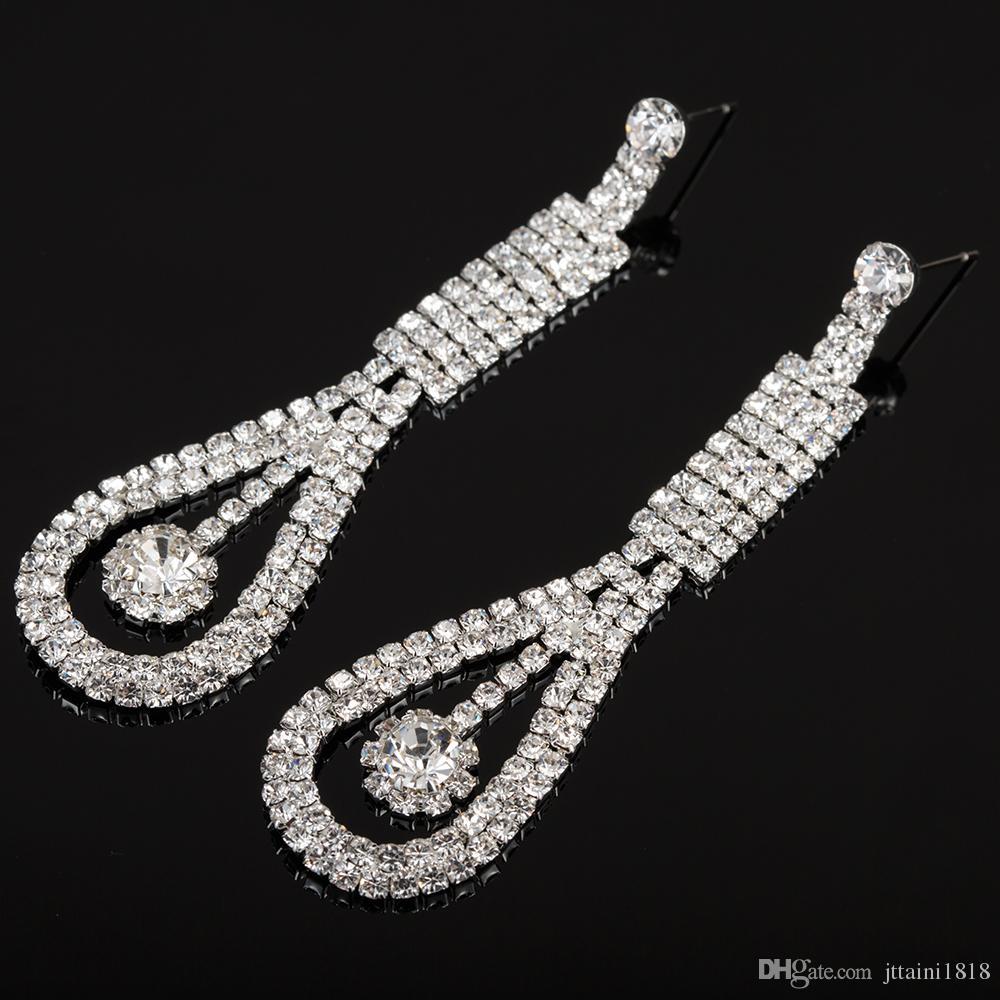 YFJEWE Full Rhinestone Crystal Long Dangle Earrings Wedding Jewelry Gift Silver Plated Bridal Wedding Earrings Wholesale E456