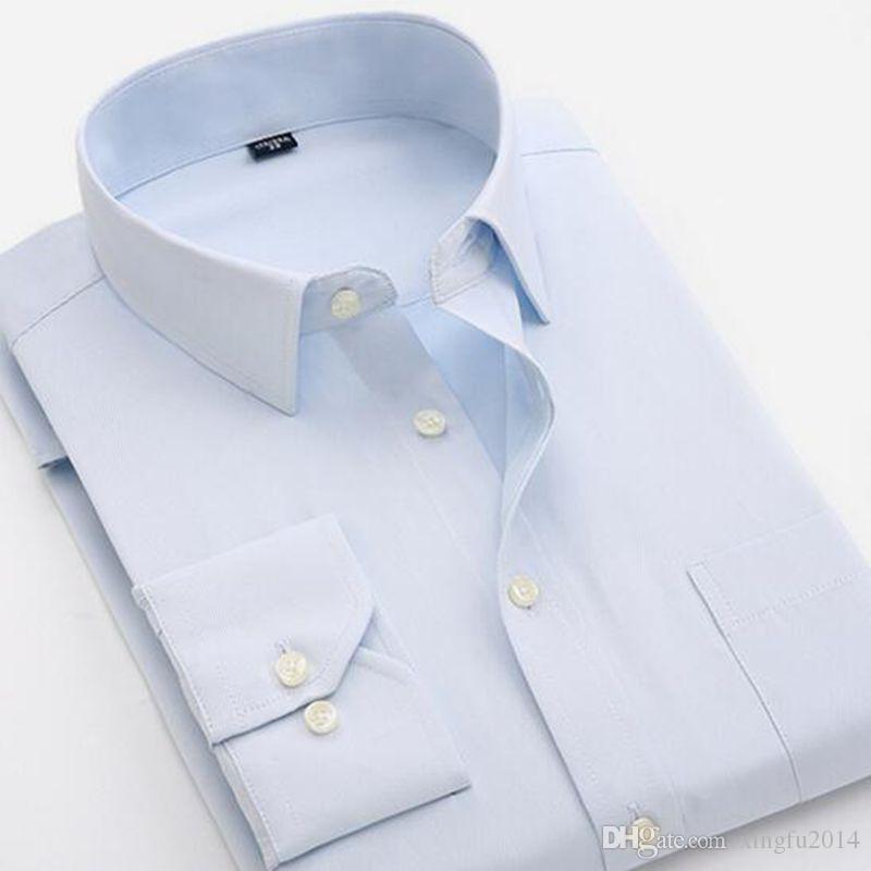 В 2017 году новые мужчины с длинным рукавом рубашки культивировать свою мораль сращивание отворотом точка бизнес формальные саржа рубашка