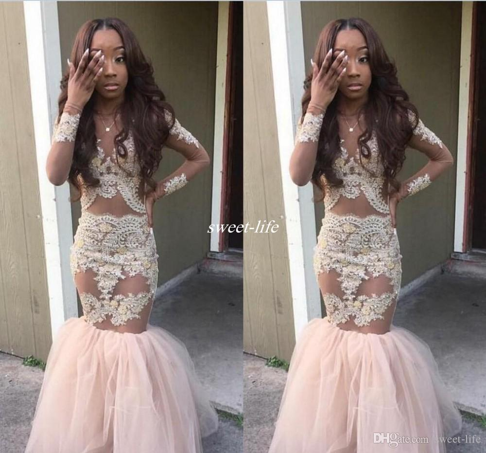 2017 Black Girl Prom Dresses Mermaid Style Gold Appliques Long ...